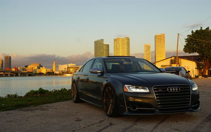 Descargar fondos de pantalla Audi S8, sedán, de color negro mate S8, el ajuste de la S8, los coches alemanes, el Audi
