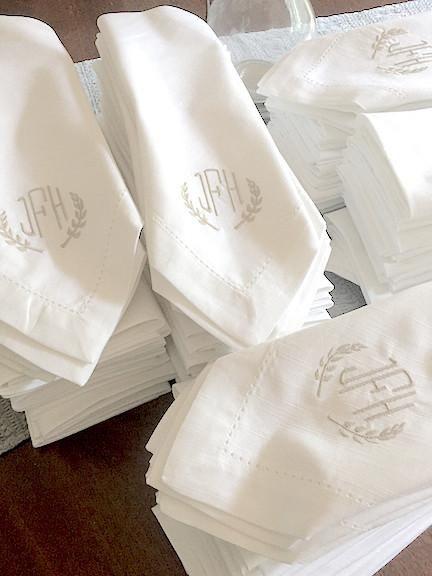 Cheap Wedding Napkin.3 Letter Bulk Monogrammed Wedding Napkins Set Of 100 Embroidered