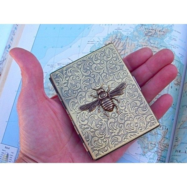 Metal Cigarette Case Antiqued Brass Bee Case Vintage Inspired Art... ($51) ❤ liked on Polyvore featuring bags, wallets, metal wallet, gothic bags, slim fit wallet, card case wallet and metal card holder wallet
