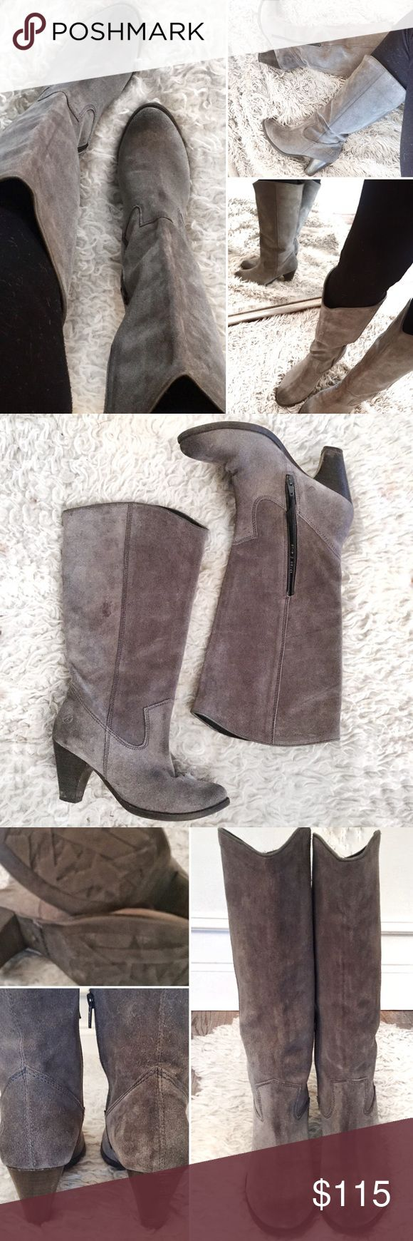 Bronx Distressed Grey Leather Boots Women's Bronx Gray / taupe Distressed Boots. This boot is gorgeous! Beautiful stitching and details throughout. Very well made, high quality!!   The style is so versatile and the color goes great with anything and everything!   Excellent condition!!!!. I purchased them from a boutique for $160 and wore them once and they got shoved to the back of my closet!   Reasonable Offers Welcome! Bronx Shoes Heeled Boots