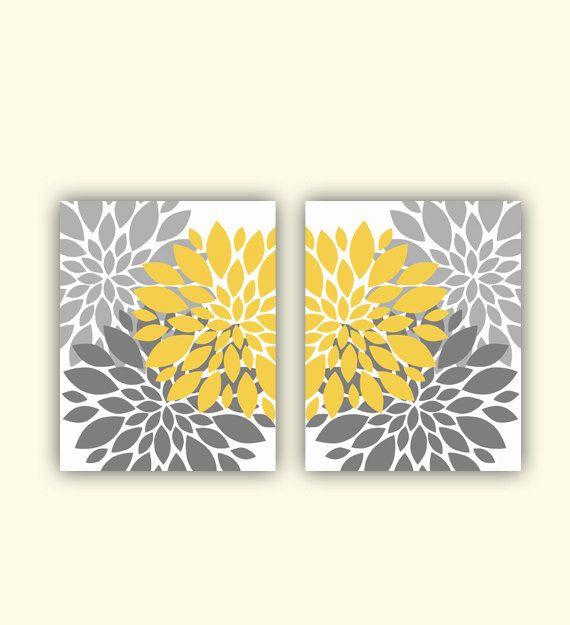 "Grey and Mustard Yellow Flower Bursts Botanical  Art 2 - 8"" x 10""  Digital Fine Art Modern Wall Art Set Prints Home Decor (150ef)"