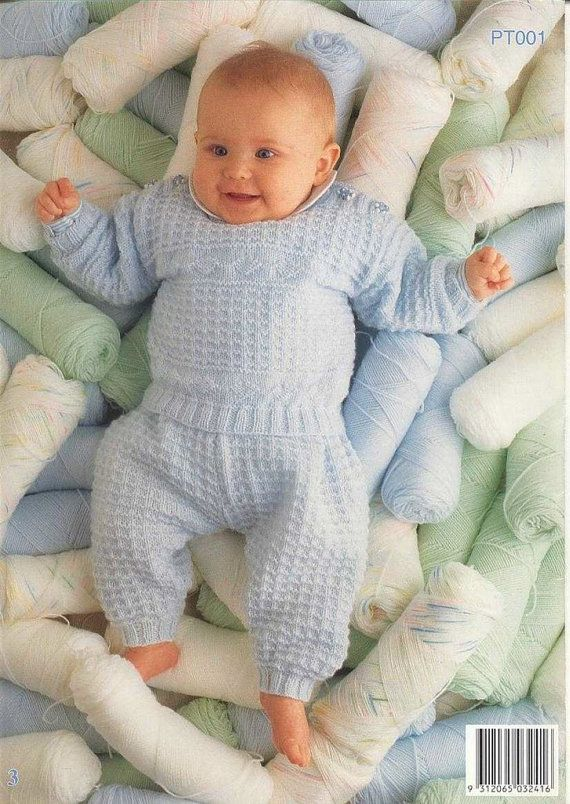 Knitting Pattern For Newborn Jumper : BABY KNITTING PATTERN - Jumper/Sweater with matching leggings/longies - Sizes...