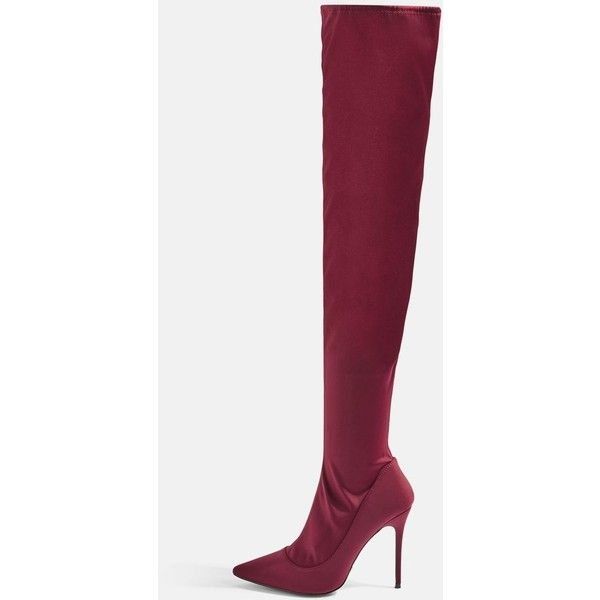 Topshop Bellini Over the Knee Sock Boots (4,145 INR) ❤ liked on Polyvore featuring shoes, boots, bordeaux, topshop boots, over-the-knee high-heel boots, over the knee boots, above the knee boots and high heel boots