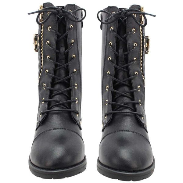 Black Quilted Moto Combat Boots With Side Buckle ($45) ❤ liked on Polyvore featuring shoes, boots, ankle booties, footwear, black bootie boots, combat booties, short black boots, lace up booties and black military boots