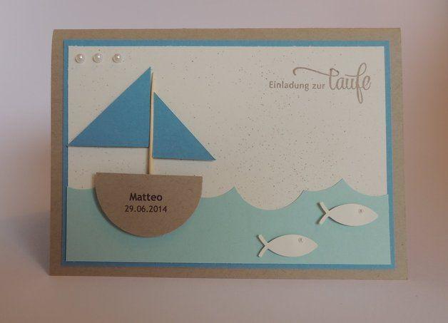 Einladung zur Taufe | Schiff | Fisch mit NAMEN