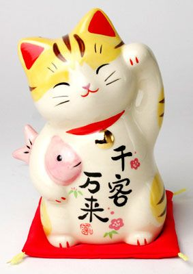 Maneki Niko Money Cat, Lucky Cat, Welcoming Cat.