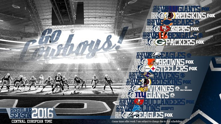 Schedule wallpaper for the Dallas Cowboys Regular Season, 2016. All times CET. Made by #tgersdiy