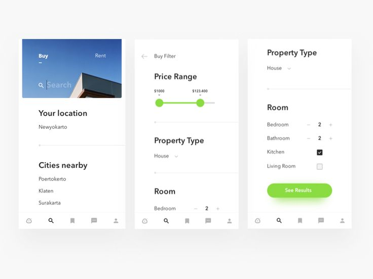 Properties app search screen