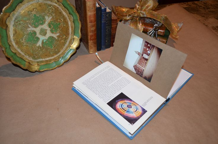 """Handcrafted """"Haunted Asylums"""" journal with original book elements retained, along with a sample of the author's original color photo of an abandoned Northeastern asylum."""