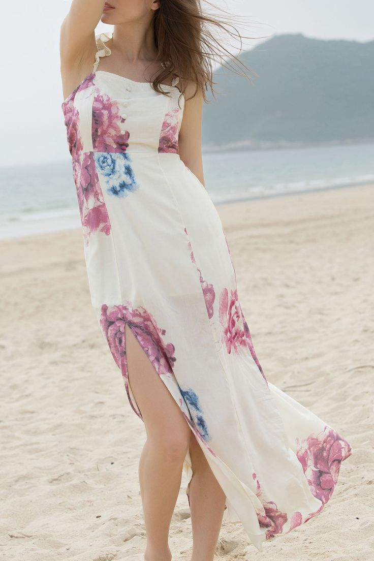 Off-The-Shoulder High Slit Bohemian Dress BEIGE: Bohemian Dresses | ZAFUL