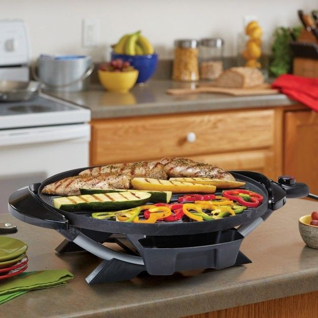 An easily portable electric grill that can be used on your kitchen countertop for perfectly smoky vegetables.