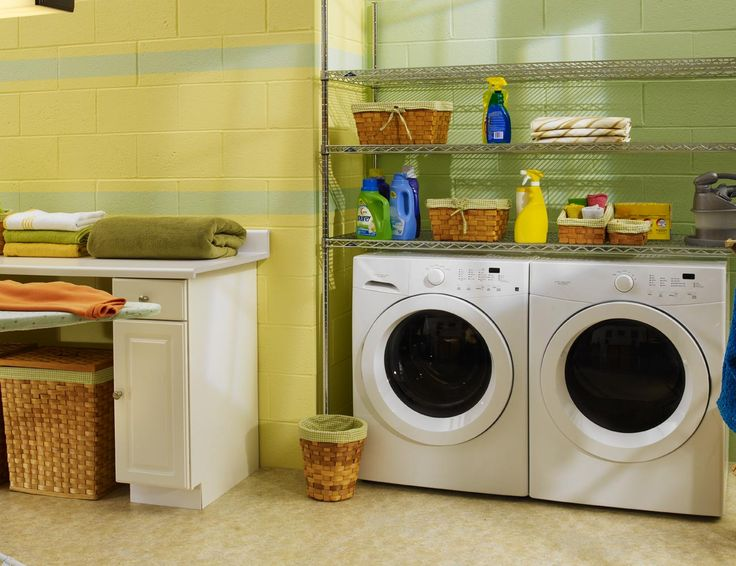 2013 Modern Laundry Room Design Ideas : Beautiful Yellow And Lime Green Laundry  Room Design With White Functional Desk And Two Washing Machines