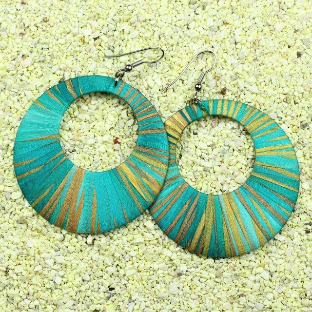Unique handcrafted silk earrings, turquoise and gold hoop earrings by intuitashop on Etsy