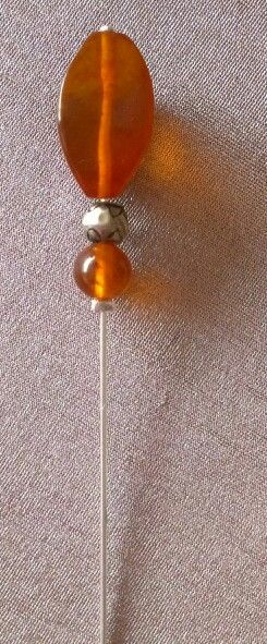 Hat pin. Czech amber. By pocketdelight