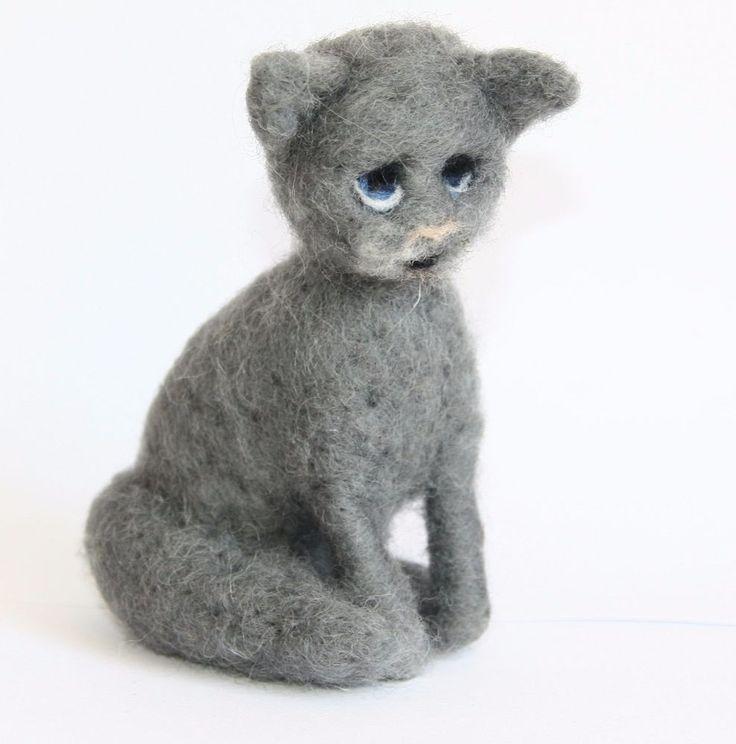 sweet Cat  needle felted miniature beautiful animal toys  handmade #7 #nutka_art #AllOccasion