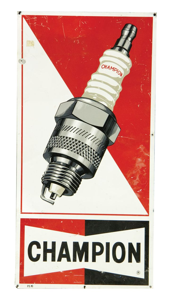 champion old spark plugs sign