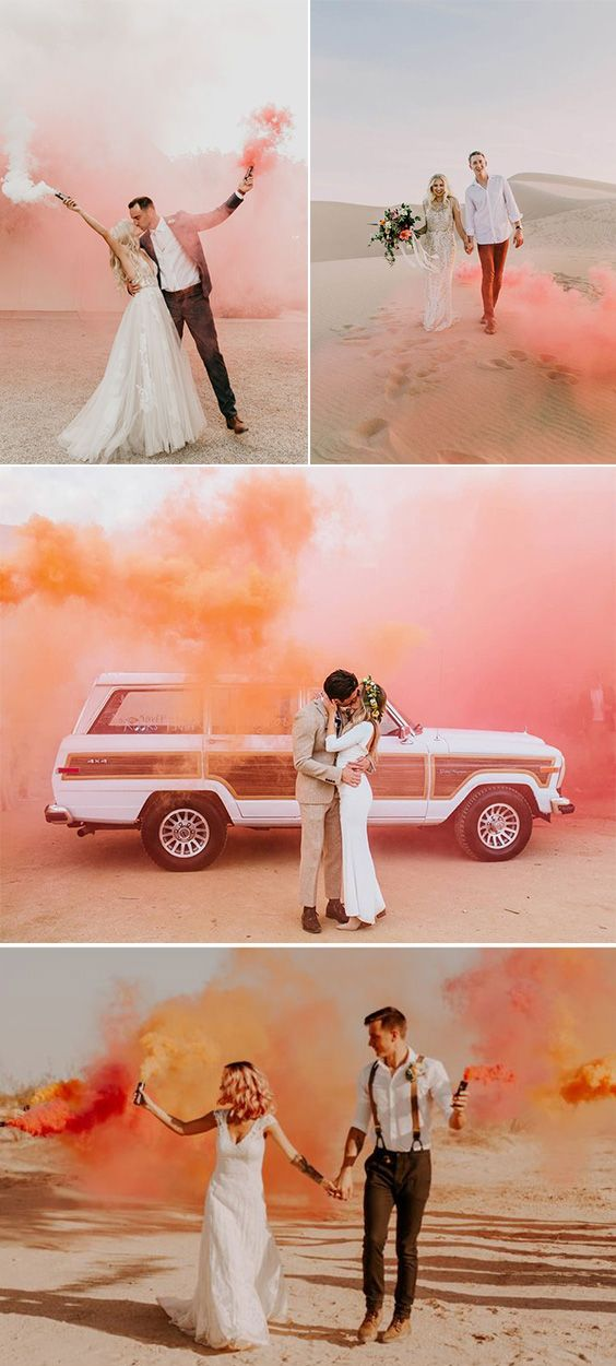 50 Colorful Smoke Bomb Wedding Photo Ideas