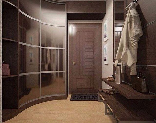 #дизайн #прихожая Угловой радиусный шкаф-купе в прихожей