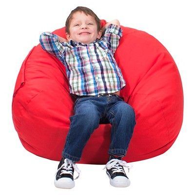 Gold Medal Kids Bean Bag Chair Denim Look with Cargo Pocket - Red