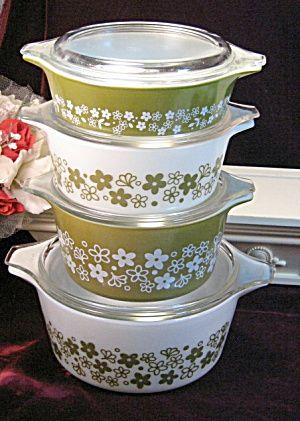 Vintage Corning Crazy Daisy Spring Blossom Pyrex Casserole Set