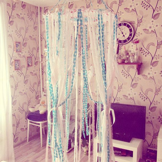 - Made To Order -     Boho nursery decor, bed canopy in white, watermellow pink and mint green colors. With cute polka dot that gives it some kind of cottage chic look.     Made of laces and cotton fabric stripes, feathers and crochet doily top.     Bohemian nursery or bedroom decor; baby shower decoration; newborn gift    Available in various sizes:    - Small (hoop part approx. 11'', laces leght approx. 32'')  - Large (hoop part approx. 18'', laces leght approx. 70'')  - King size (hoop…
