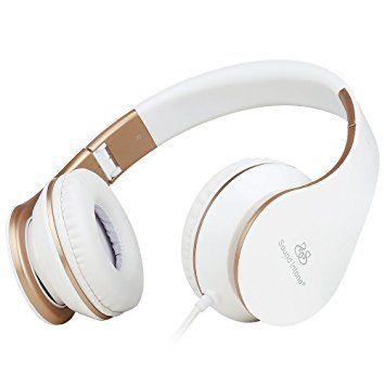 Sound Intone I65 Casque Stéréo - Nouvelle Génération, Design Ergonomique, Pliable avec Commande de volume - Compatible avec PC, Téléphones Portables Intelligents (iPhone/Samsung), PSP, Ipod et Mp3 (Blanc/OR)