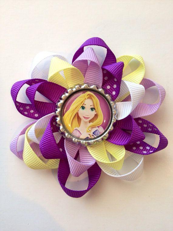Tangled/ Princess Rapunzel Hair Bow. Bottle Cap Rapunzel hair bow on Etsy, $5.00