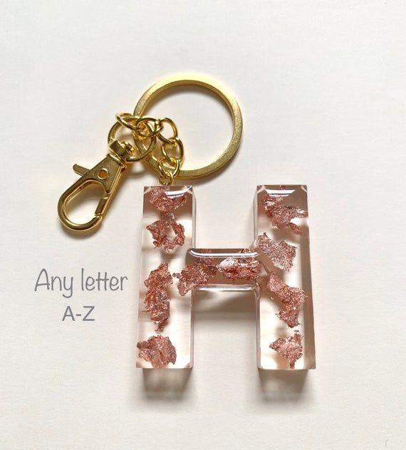 Silver Gold Foil Letter L Keyring