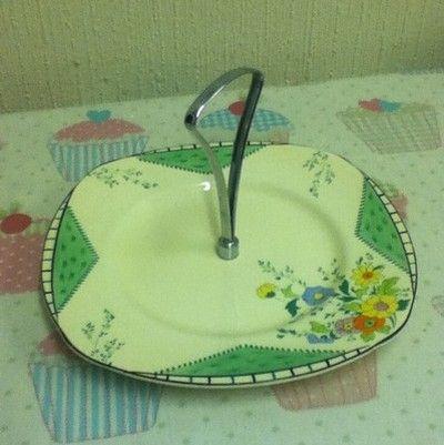 Burleigh Ware Mayfair Sandwich/Cake Plate With Handle Vintage Retro (03/23/2012)