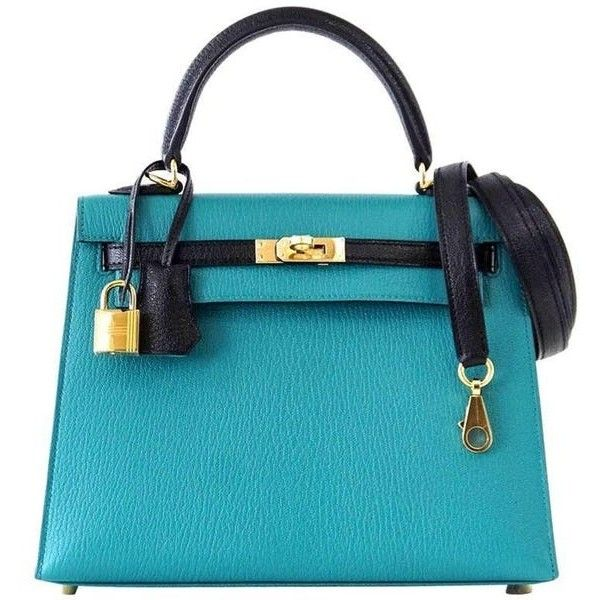 Hermes Kelly 25 Sellier Bag Horseshoe Blue Paon / Black Chevre Mysore... ($32,675) ❤ liked on Polyvore featuring bags, handbags, gold purse, hermes handbags, gold handbags, blue handbags and hermes bag