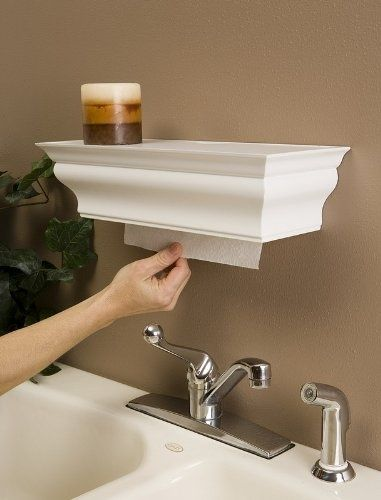 Shelf paper towel dispenser. Easy to make with crown molding! I stock my guest half bath with disposable paper in a dinner napkin holder, and it works nicely, and I receive lots of compliments and gratitude for considering my guests needs.  But this is an even better towel dispenser!  I am going to have to attempt this!