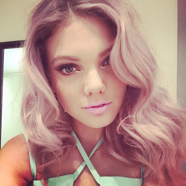 Becca Dudley pink hair + makeup