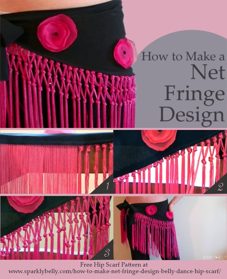 How to Make a Net Fringe Design for Belly Dance Hip Scarf - SPARKLY BELLY