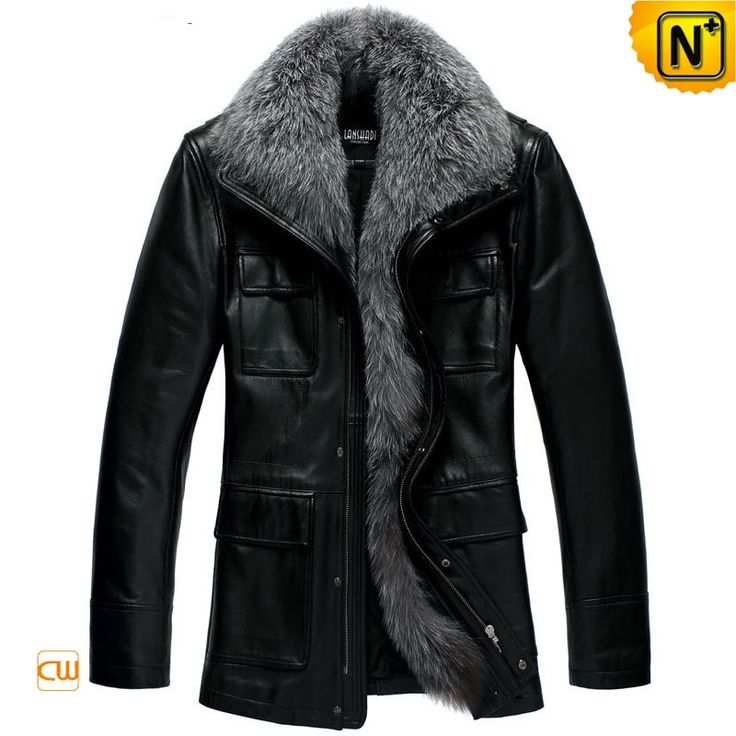 Men Casual Sheepskin Leather Down Coat Large Fox Fur Collar CW832604 $698.89 - www.cwmalls.com