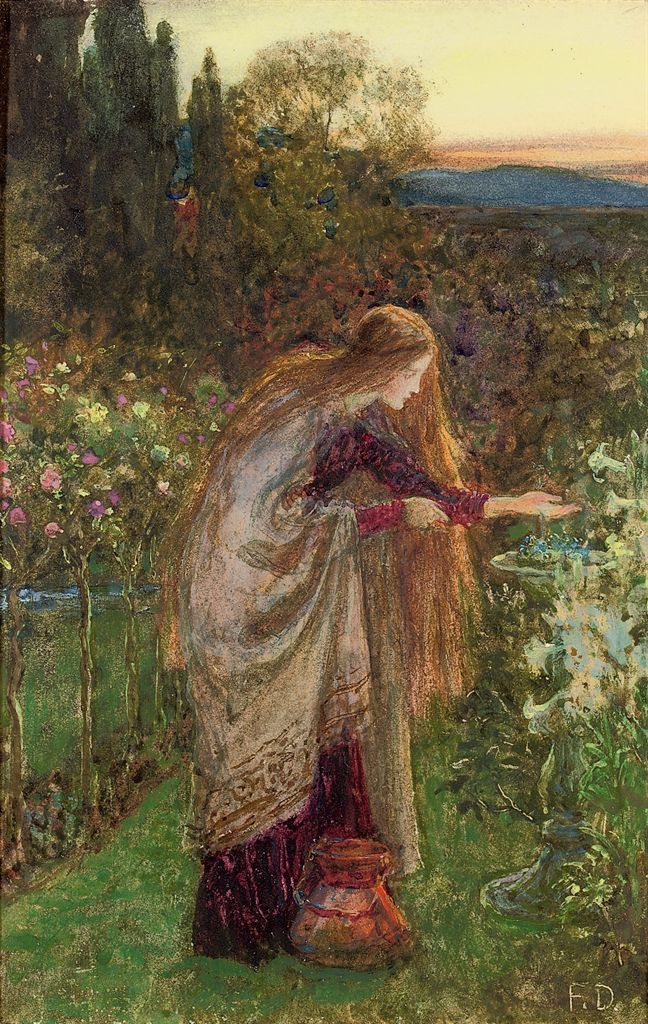 The Sensitive Plant, study, Sir Frank Dicksee. English Pre-Raphaelite Painter (1853 - 1928)                                                                                                                                                                                 Más