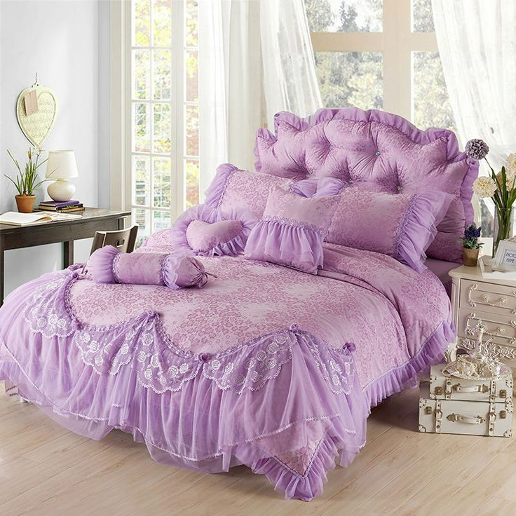 home d cor idea luxury Purple Jacquard Silk Princess bedding set 4pc silk  Lace Ruffles. 103 best Home Soft Furnishes images on Pinterest   Bedding sets