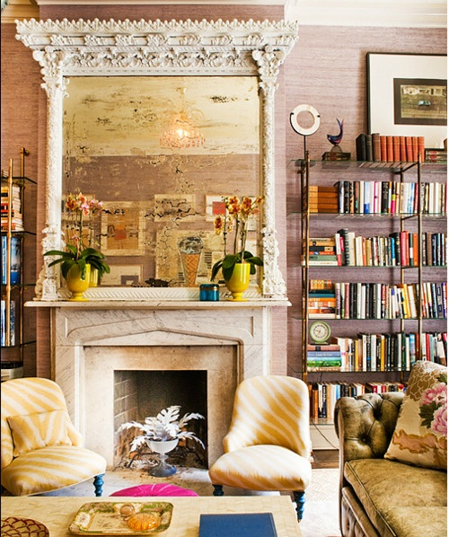 Grasscloth wallpaper is back in a big way!: Mantels, Bathroom Design, Living Rooms, Antiques Mirror, Fireplaces, Interiors, Book, Yellow Chairs, Mantles
