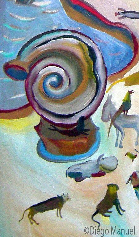 Painting titled Paradise for sale, of the artist Diego Manuel. Pintura titulada Paraiso en venta, del artista Diego Manuel