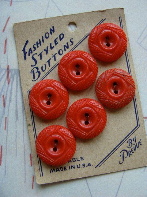 ButtonArtMuseum.com - One Antique Gorgeous Red Button set on Original by reginasstudio, $6.95
