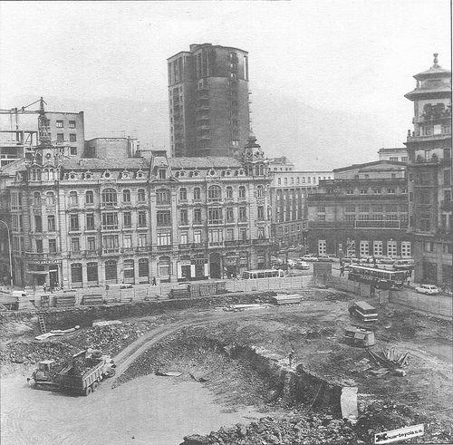 Obras del aparcamiento de la Plaza Escandalera. Oviedo