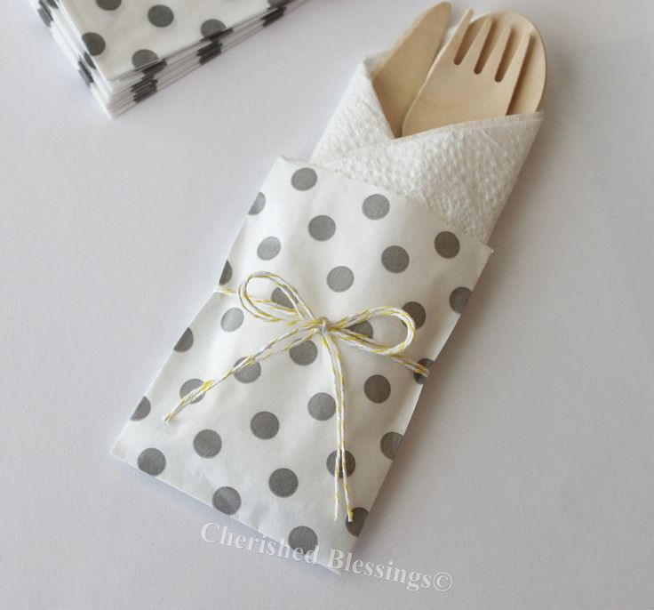 10 Wood Wooden Cutlery Bags w/ Silverware Utensils Table Setting Wedding Kids Birthday Party Baby Shower Favors Paper Goods Grey Polka Dots. $12.99, via Etsy.