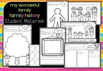 MY WONDERFUL FAMILY - PREP YEAR HISTORY UNIT MATERIALS - Linked to the Prep History ACARA Curriculum standards, and designed to align with the Queensland C2C History unit 'Personal and Family Histories - Exploring Families'  These unit materials are aimed at developing early historical skills of questioning, relating stories, and comparing family structures. TeachersPayTeachers.com