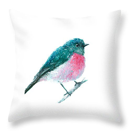 "Rose Robin oil painting Throw Pillow 14"" x 14"" by Jan Matson"