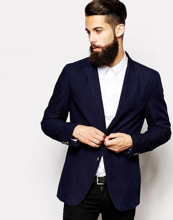 Sisley Slim Fit Blazer With Mini Jacqaurd
