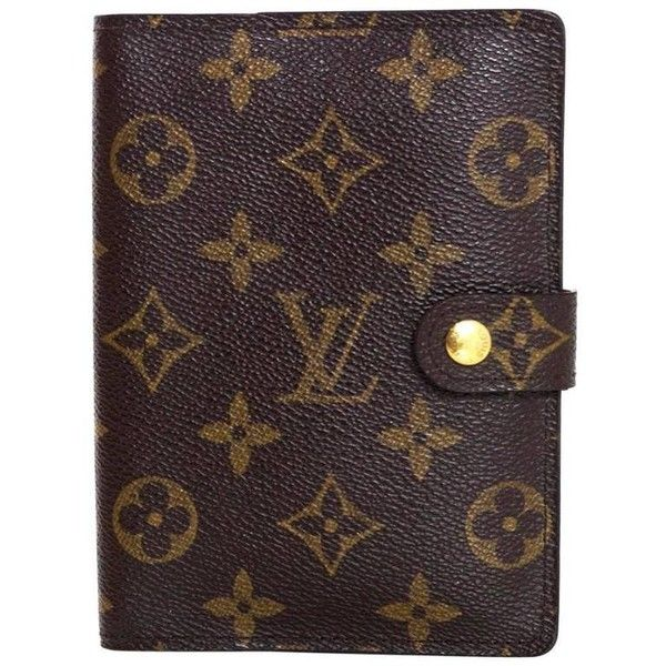 Preowned Louis Vuitton Monogram Small Ring Agenda Cover featuring polyvore home home decor stationery black wallets