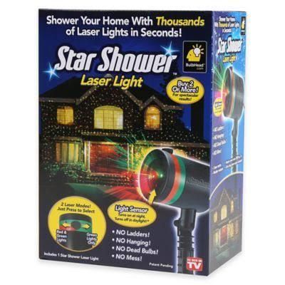 """Now you can easily light up your house and landscape with thousands of dazzling, green and red holographic stars. Simply stake the Star Shower Laser Light projector into the ground and plug it in – instantly, it will project thousands of colorful stars wherever you want. Covers 600 sq. feet. Star Shower can also be used inside to add excitement to a party or create a fantasy world in a little one's bedroom. Stand for indoor use not included. Glass and plastic. Measures 10 1/2""""L ..."""
