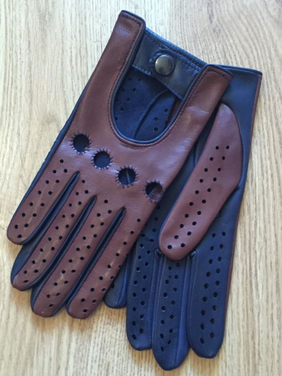 Leather driving gloves for men-leather gloves.drive-gift-mens gloves-italian leather.handmade gloves, soft-lamskin leather, brown and blue