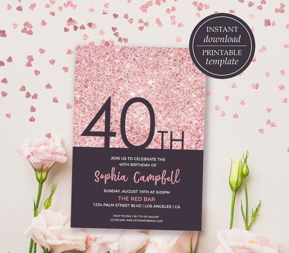 40th Birthday Invitations Forty Invitation 40 For Women Rose Gold Gl