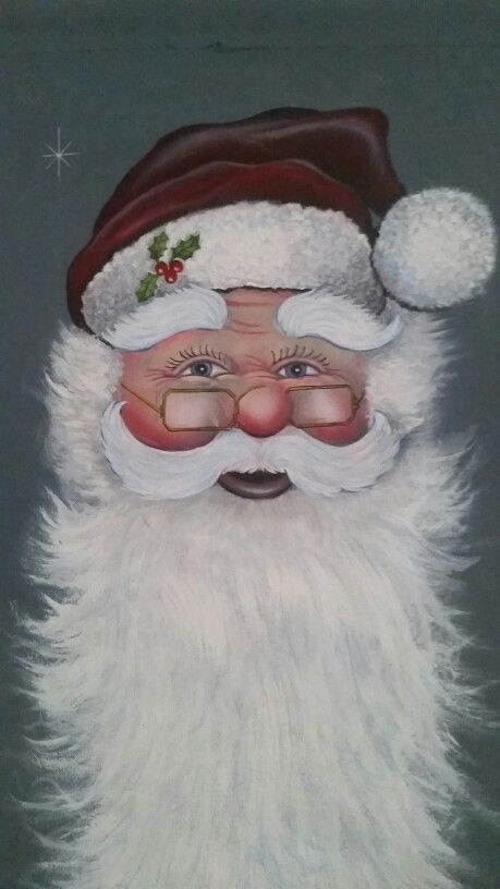 Santa painted on canvas scroll  Made by Joe Brownell