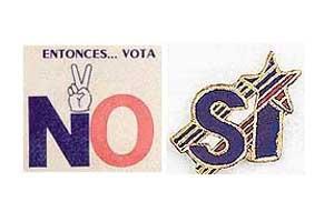 Original badges from the 1980 Chilean plebiscite.